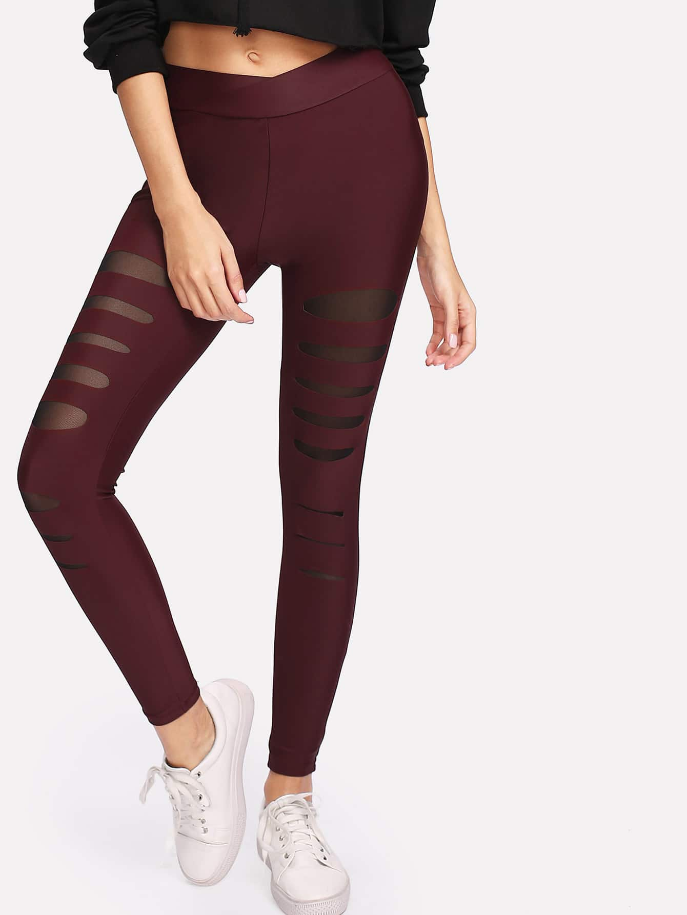 Mesh Insert Ripped Leggings side panel mesh insert camo leggings