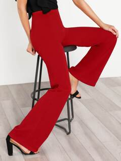 High Waisted Pullover Flare Pants RED