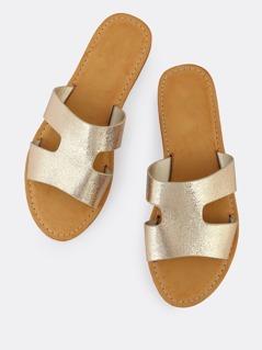 H Cut Out Open Toe Faux Leather Sandals