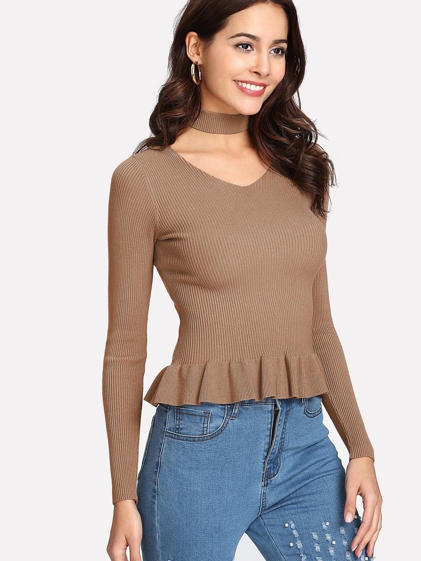 Ruffle Hem Rib Knit Sweater With Choker sweater171025403