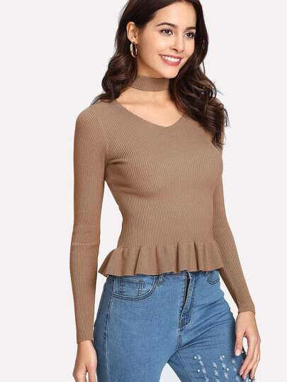 Ruffle Hem Rib Knit Sweater With Choker