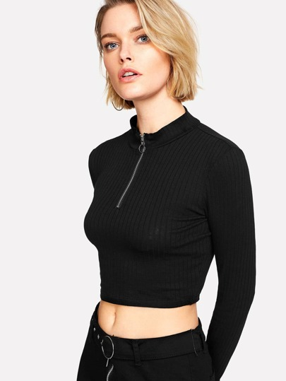 Ring Zip Up Front Ribbed Crop Tee