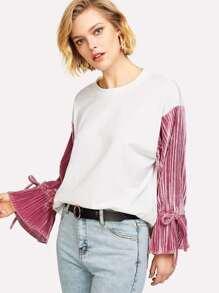 Contrast Ruffle Velvet Sleeve Pullover