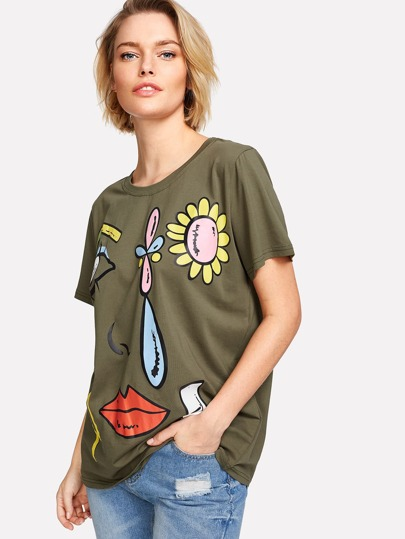 Facing And Flower Print Tee