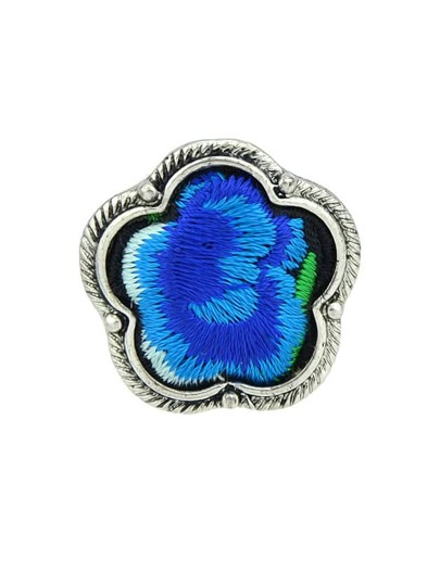 Blue Handmade Embroidery Flower Finger Rings