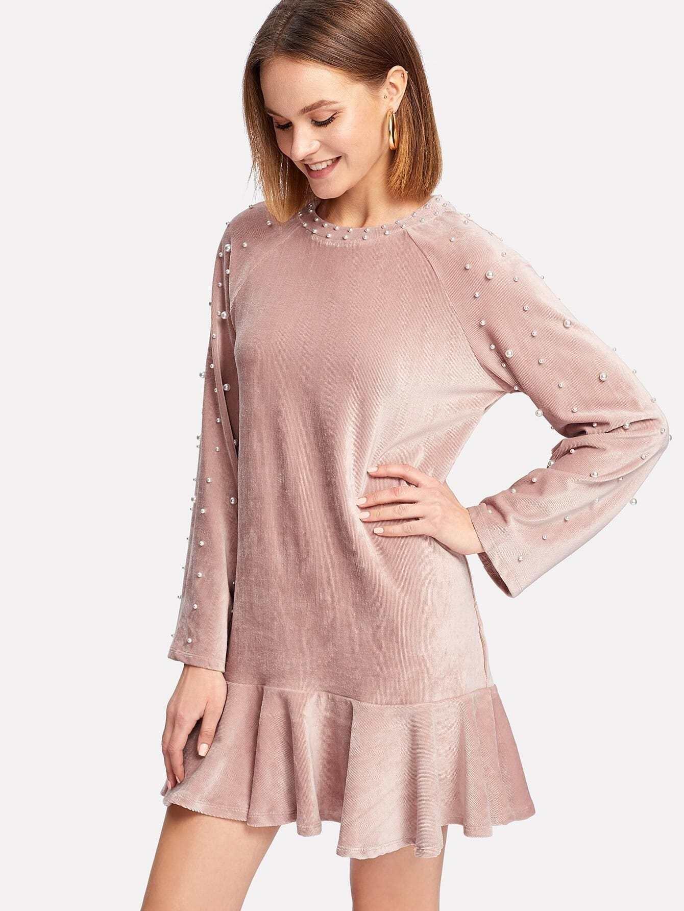 Pearl Embellished Ruffle Hem Velvet Dress