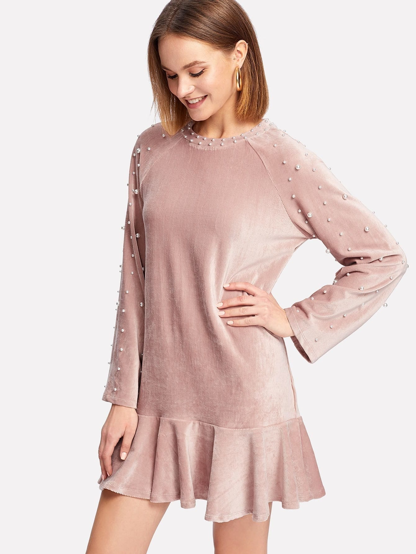 Pearl Embellished Ruffle Hem Velvet Dress dress171214453
