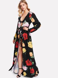 Tie Front Maxi Floral Kimono