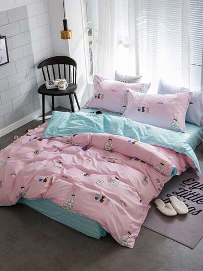 1.0m 3Pcs Cartoon Print Duvet Cover Set