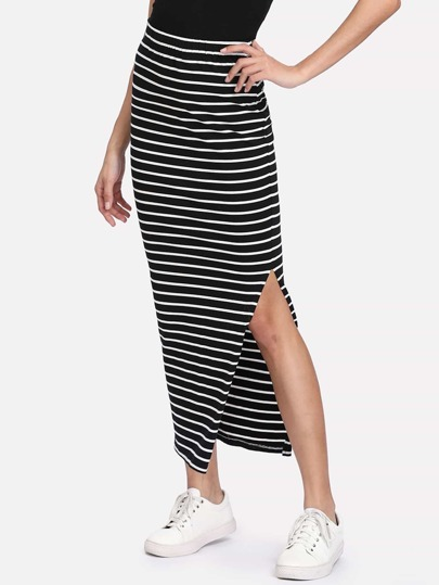 Slit Side Striped Skirt