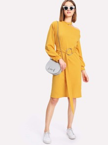 Open Shoulder O-Ring Belted Dress
