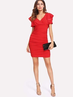 Flounce Detail Ruched Dress