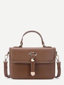 Zip Trim Detail PU Crossbody Bag