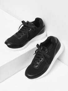 Lace Up Net Surface Sneakers