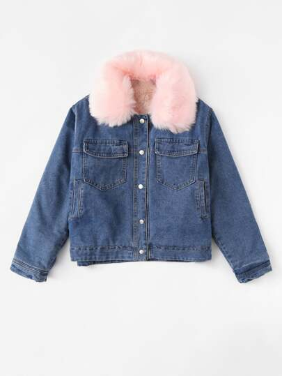 Chaqueta denim con escote desmontable