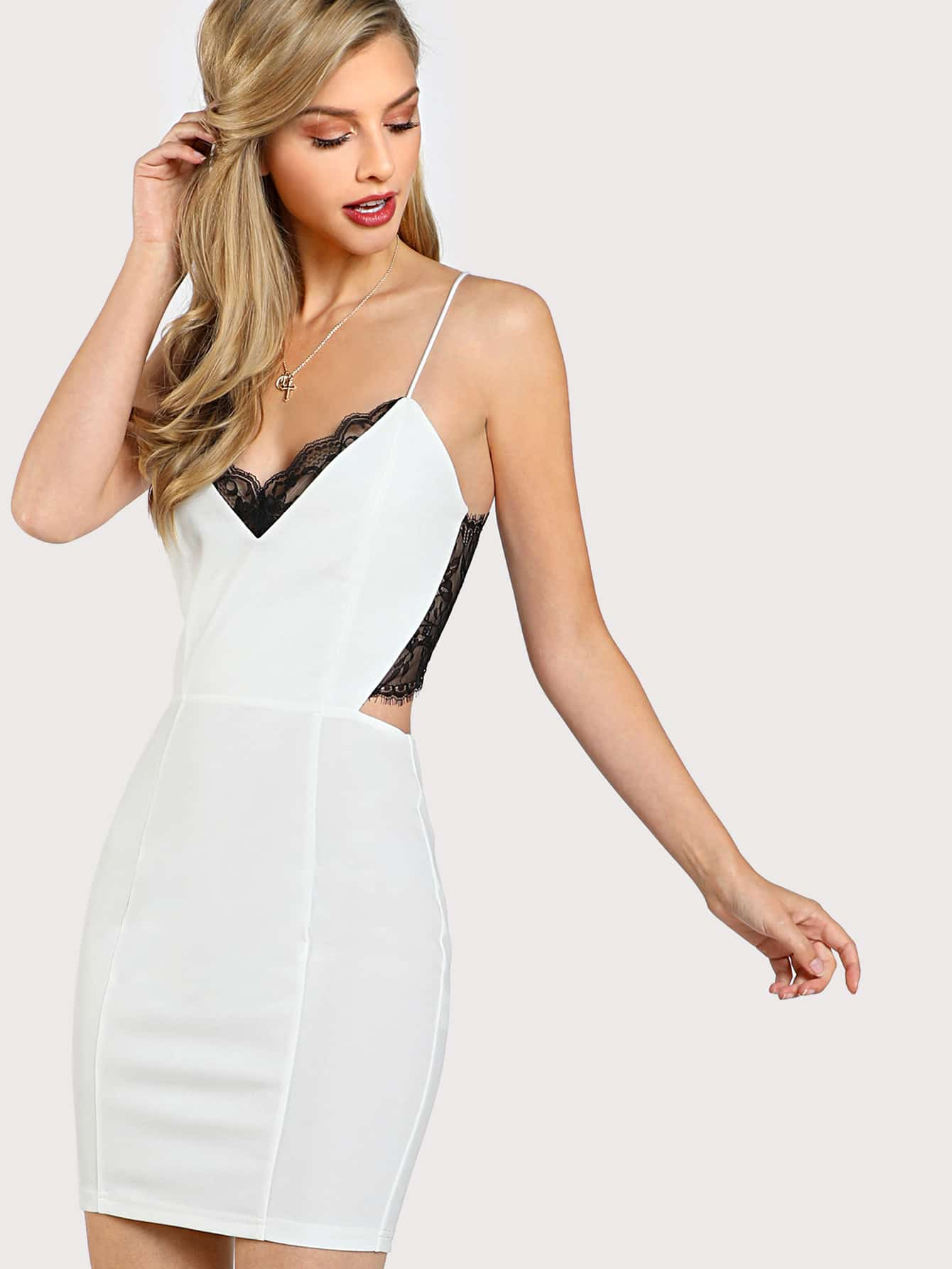 Lace Panel Cut Out Cami Dress dress171117707