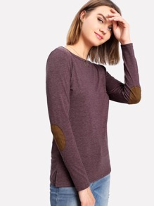 Contrast Elbow Patch Marled Tee