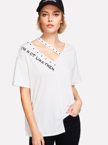 Studded Cutout Neck Staggered Hem T-shirt