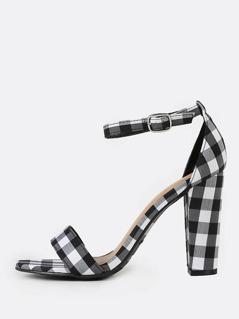Plaid Ankle Strap Chunky Heels BLACK WHITE