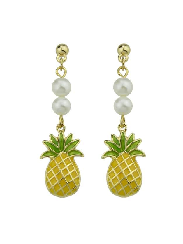 Enamel Pineapple Pattern Dangle Earrings For Women цена и фото