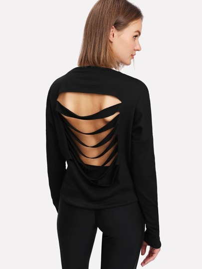 Contrast Striped Ripped Back Sweatshirt
