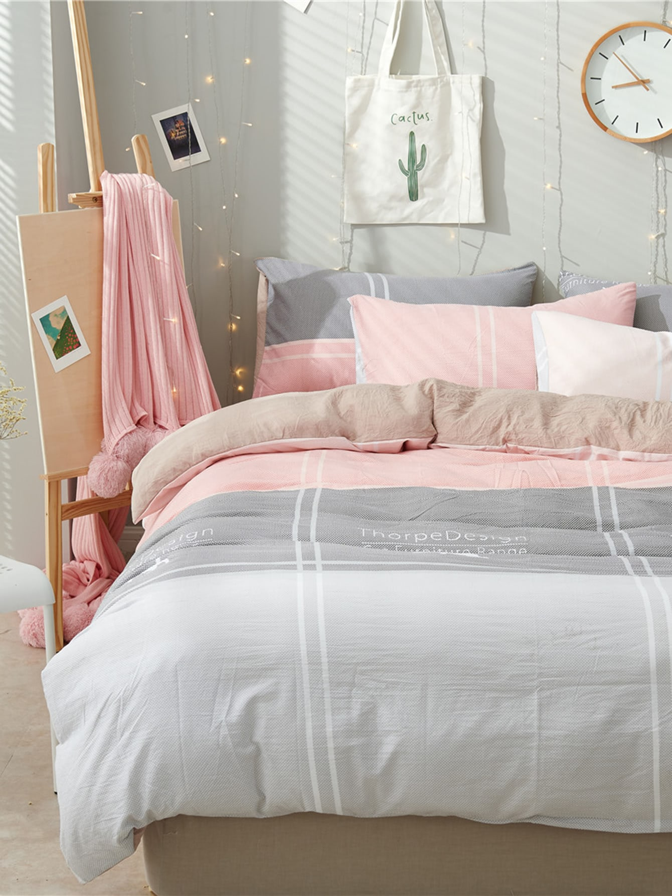 2.0m 4Pcs Letter Print Striped Bed Sheet Set