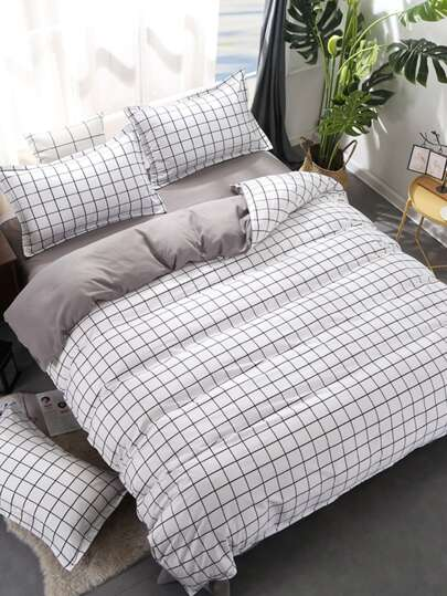 2.2m 4Pcs Grid Duvet Cover Set