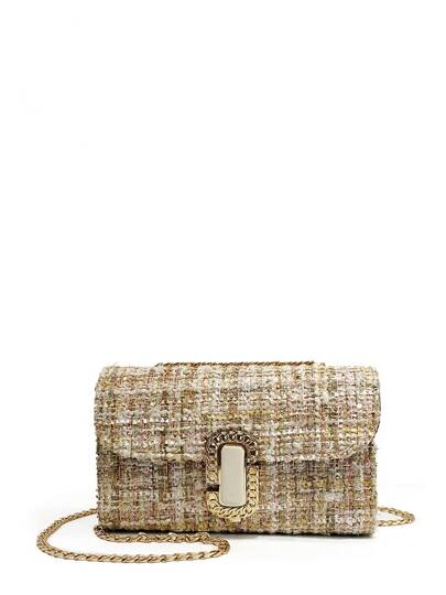 Tweed Overlay Flap Chain Crossbody Bag