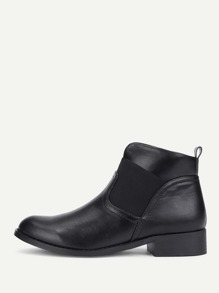 Round Toe Block Heeled Ankle Boots