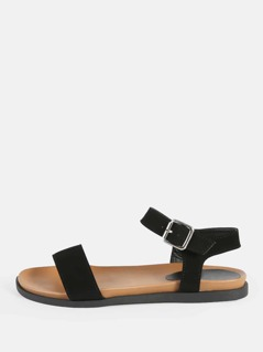 Single Band Ankle Strap Sandals BLACK