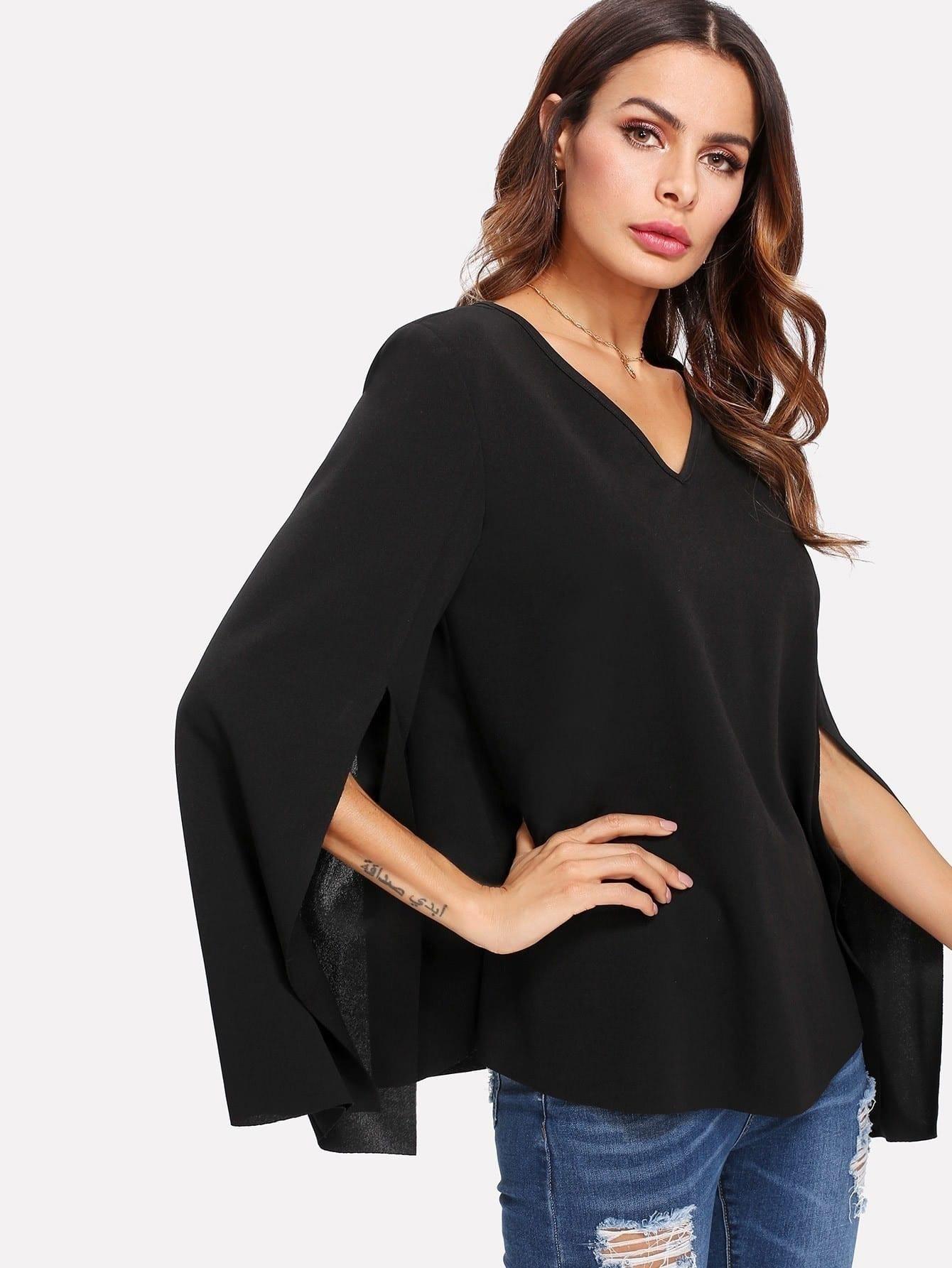 Купить Модная блуза с вырезом и V-образным вырезом, рукав клёш, Andy, SheIn