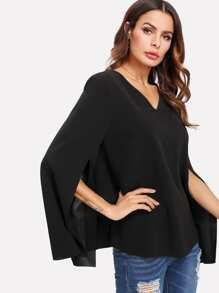 Slit Sleeve Cape Top