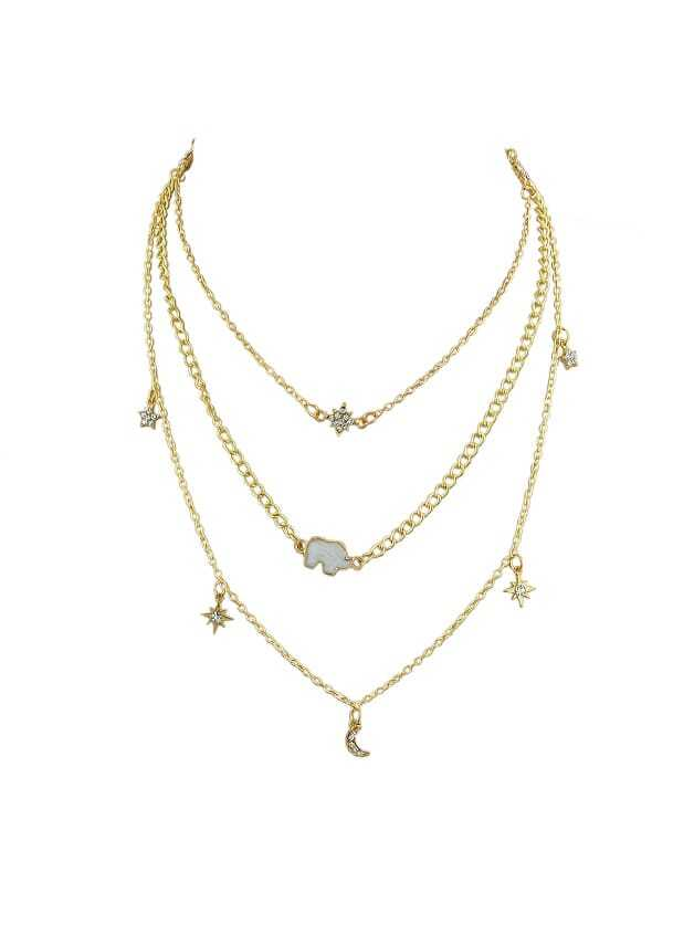 Gold Multi Layer Chain Necklace Long Chain With Rhinestone Star Moon Elephant Charms Necklace