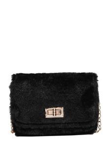 Twistlock Fluffy Chain Bag