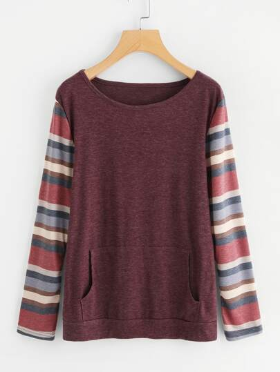 Striped Sleeve Kangaroo Pocket Tee
