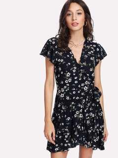Frilled Trim Asymmetrical Layered Hem Dress