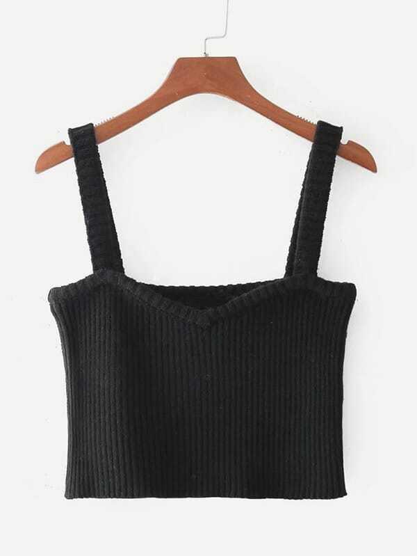 Rib Knit Crop Cami Top