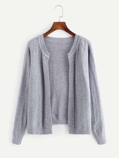 Raglan Sleeve Knit Cardigan
