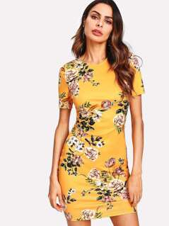 Allover Botanical Print Zip Back Dress