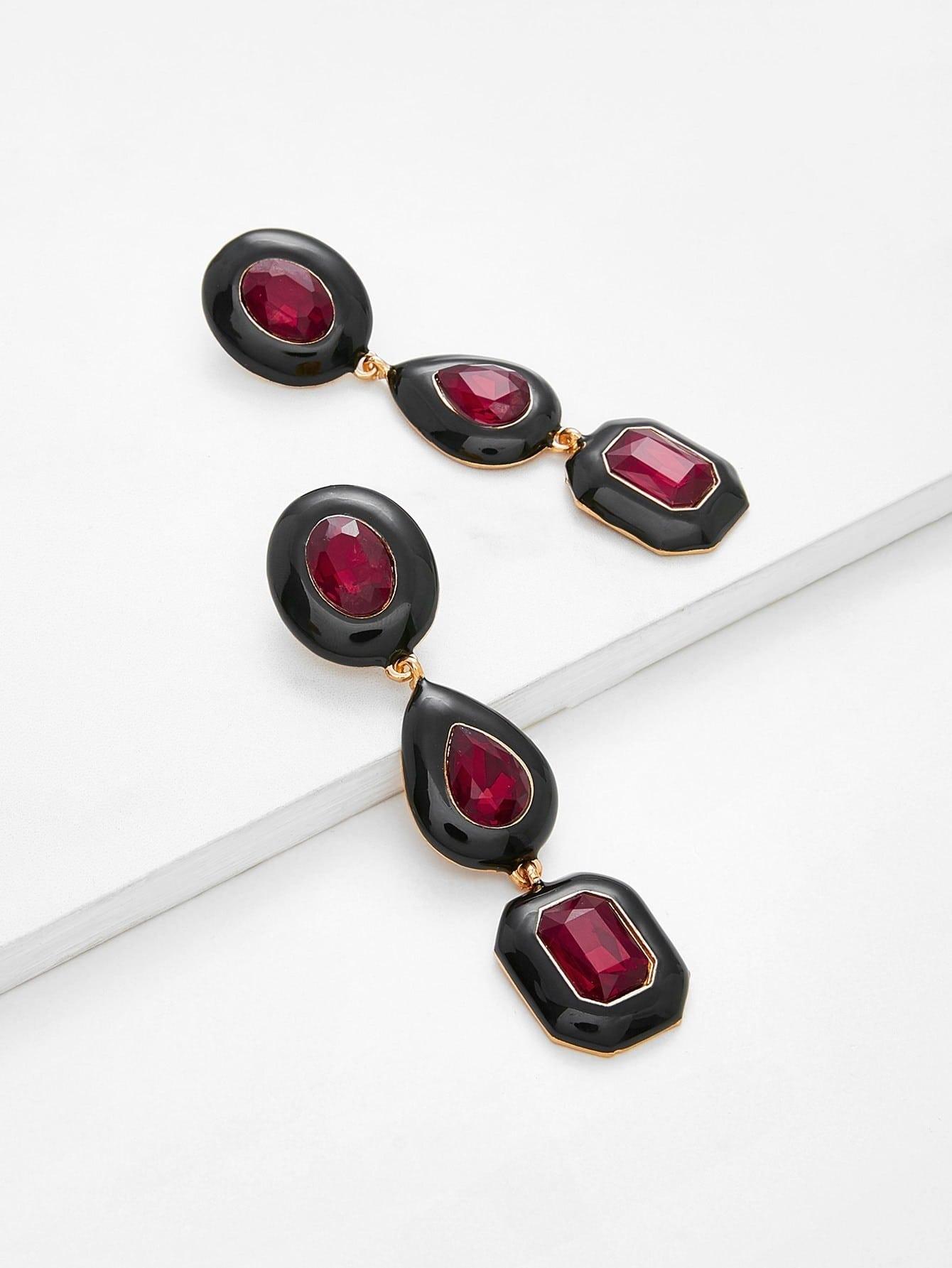 Contrast Rhinestone Design Drop Earrings contrast rhinestone drop earrings