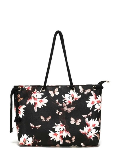 Butterfly & Flower Print Tote Bag
