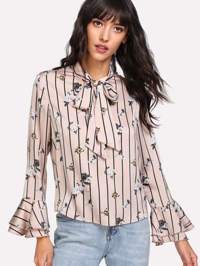 Striped And Flower Print Tied Neck Blouse