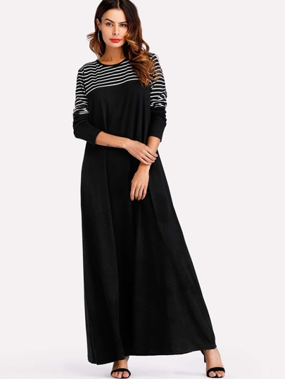Stripe Panel Full Length Dress