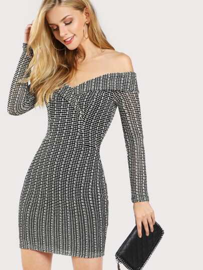 Printed Off Shoulder Long Sleeve Dress BLACK