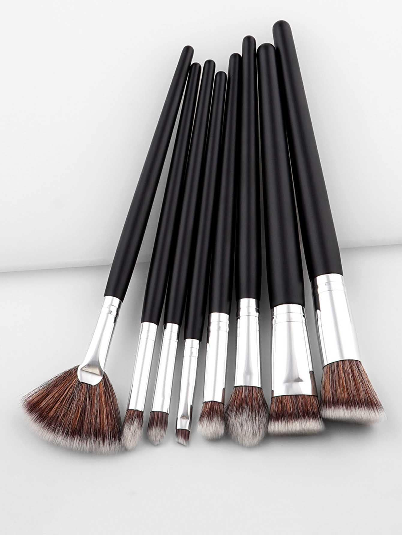 Two Tone Handle Professional Makeup Brush Set two tone drop shoulder sweatshirt