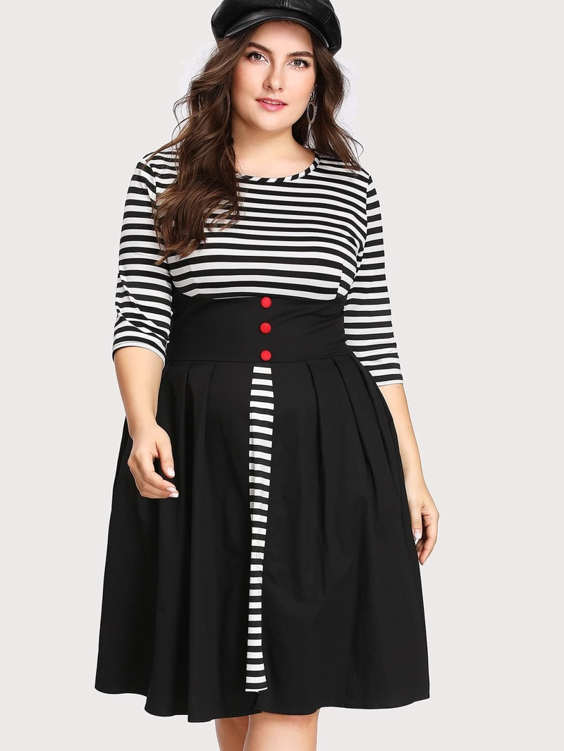 Plus Contrast Stripe Panel Combo Dress, Black and white