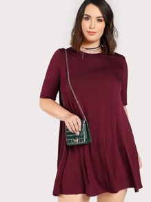 Drop Sleeve Solid Flowy Dress