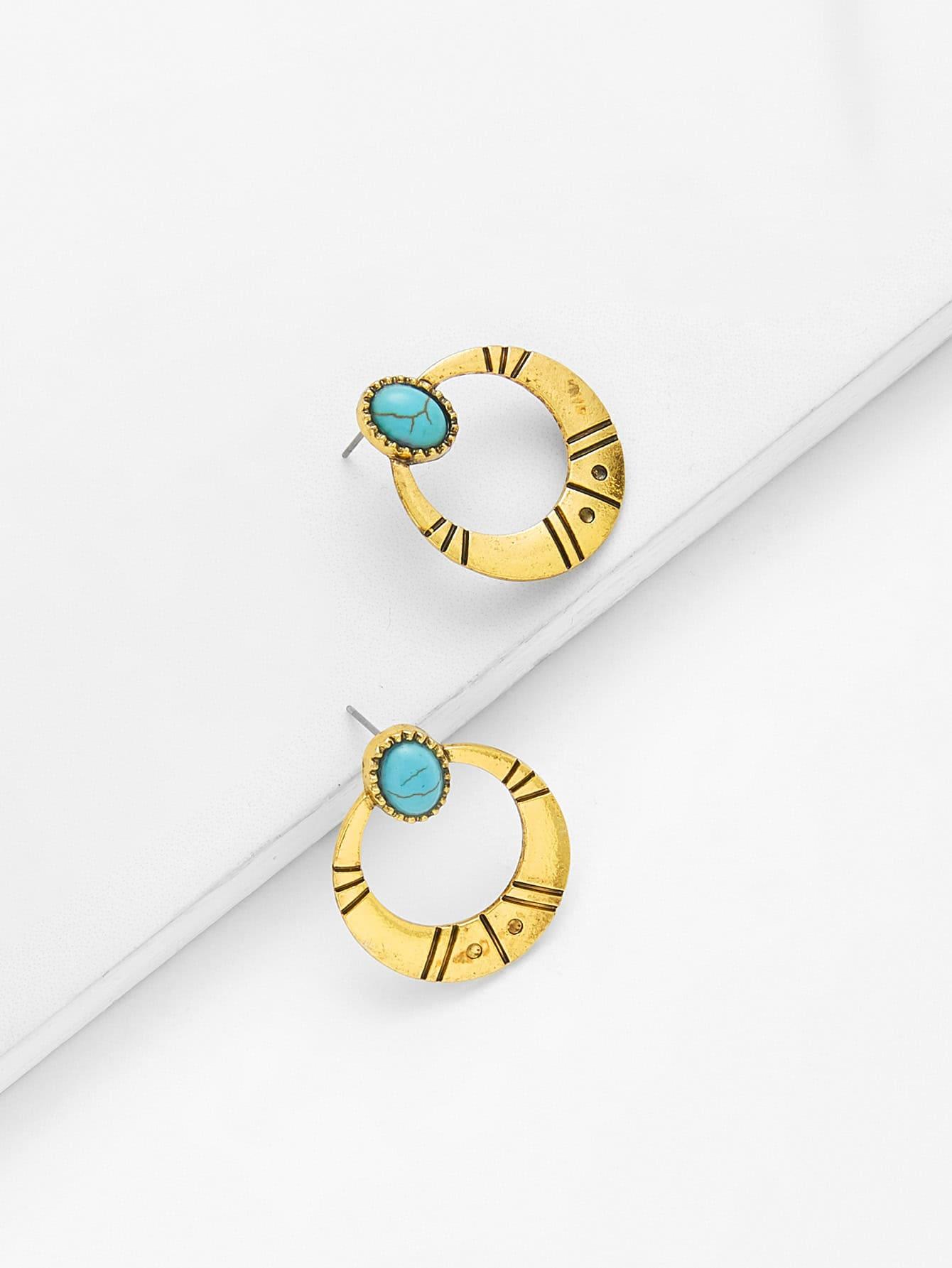 Фото Contrast Hoop Earrings With Turquoise vintage faux turquoise teardrop hoop earrings
