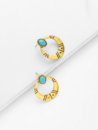Contrast Hoop Earrings With Turquoise
