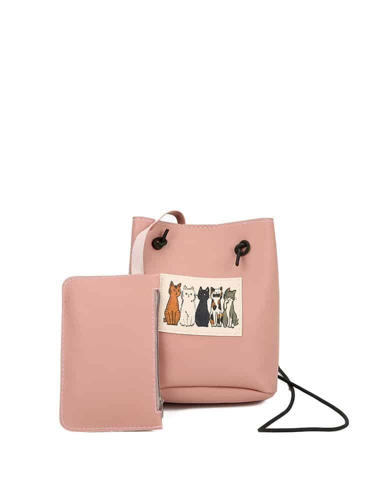 Фото - Cat Pattern PU Shoulder Bag With Purse creative girl mini coin purses cartoon cat graffiti print pattern clutch bag with zipper purse card 11 styles designs
